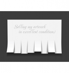 Blank advertisement with cut slips vector
