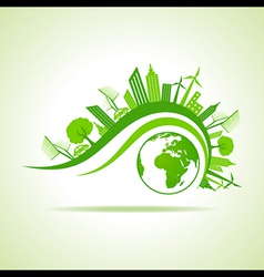 Ecology concept - eco cityscape with earth vector