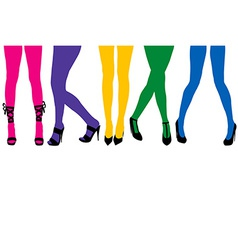 Women sexy legs with colored stocking vector