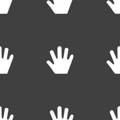 Hand icon sign seamless pattern on a gray vector