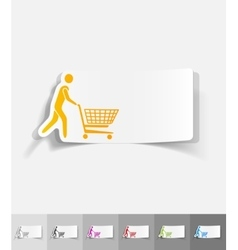 Realistic design element man with trolley vector