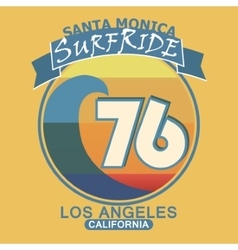 Surfing t-shirt graphic design Santa Monica vector image