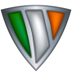 steel shield with flag ireland vector image