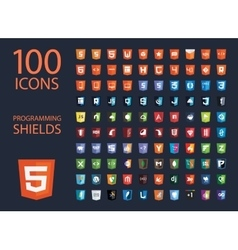 Collection of web development shield signs vector