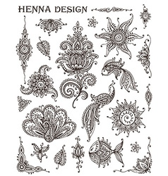 Set of henna floral and animal elements based on vector