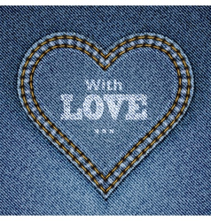 Blue jeans heart vector