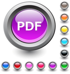 PDF round button vector image