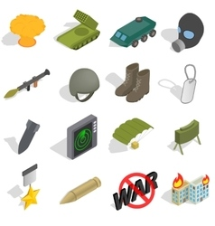War icons set isometric 3d style vector