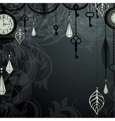Vintage dark background with antique clocks and vector