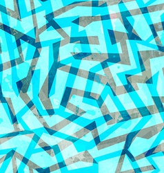 abstract blue maze seamless texture with grunge vector image
