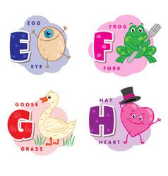 Alphabet letter e f g h an egg frog goose heart vector