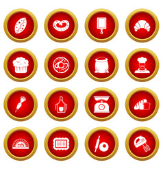 Bakery icon red circle set vector