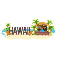 Beach bar hawaii travel palm drink summer vector
