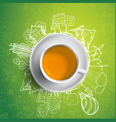 black tea with circle ecology doodles sketched vector image