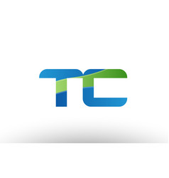 Blue green tc t c alphabet letter logo vector