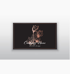 business card templates with pink gold vector image vector image