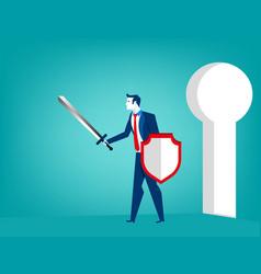 businessman defending vector image vector image