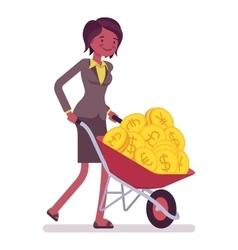 Businesswoman pushing a wheelbarrow full of golden vector