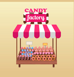 candy factory bright stand isolated vector image vector image