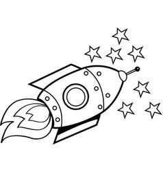 Cartoon spaceship and stars vector