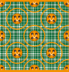 checkered green fabric with orange circles and vector image vector image