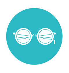 Circle light blue with glasses icon vector