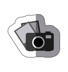 Digital camera with pictures icon vector