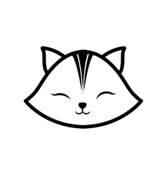 Face cat clossed eyes feline outline vector