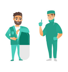 Flat male doctor leaning at pill surgeon vector