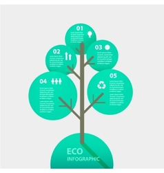 Green tree sign infographic template for vector
