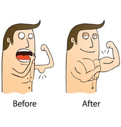Gym before and after cartoon vector