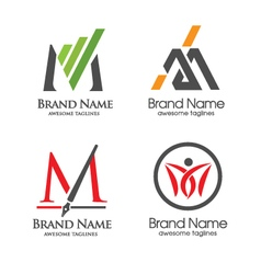 Letter m logo set vector
