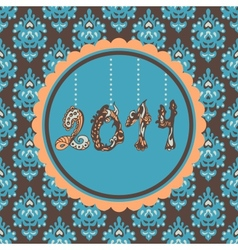 New Year Card hanging figures vintage vector image vector image