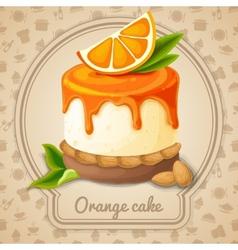 Orange cake emblem vector image vector image