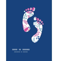 Pink flowers footprints silhouettes pattern vector