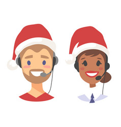 portrait of happy smiling customer support phone vector image vector image