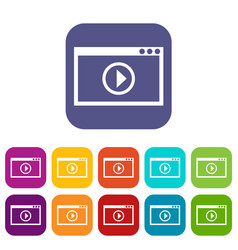 Program for video playback icons set vector