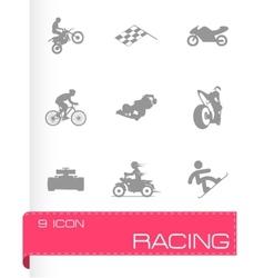 racing icons set vector image