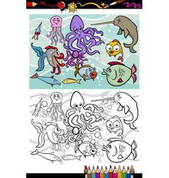 sea life animals group coloring book vector image