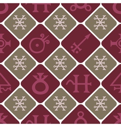 Seamless texture with alchemical processes symbol vector