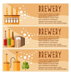 Set of banner for brewery industry with brewery vector