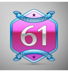 Sixty one years anniversary celebration silver vector