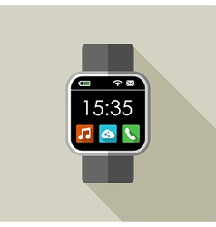 Smart watch in 2d with time and apps vector image