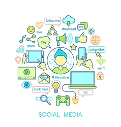 Social Media set -line icons vector image vector image