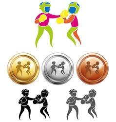 Sport icon design for boxing and medals vector image