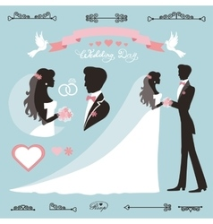 Wedding decor setflat silhouette bridegroom vector