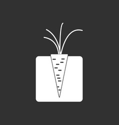 White icon on black background turnips in the vector