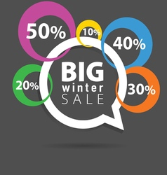 Winter sale with speech bubble and percent circle vector