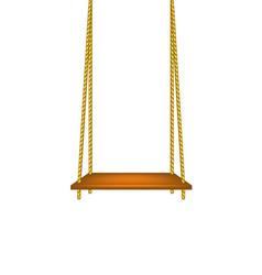 Wooden swing hanging on ropes vector