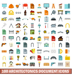 100 architectonics document icons set flat style vector image vector image